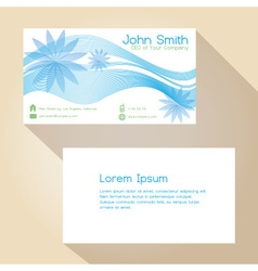 Blue lines and flower simple business card design vector