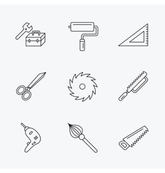 Scissors paint roller and repair tools icons vector