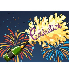 Celebration night with firework and champagne vector