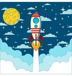 Rocket launch in space background vector