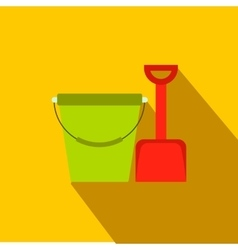 Bucket and shovel for childrens sandboxe icon vector