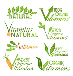 Natural vitamins emblems vector