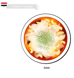 Saltah or yemeni meat stew with vegetables vector