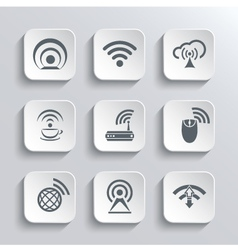Wireless and wi-fi web icons set vector