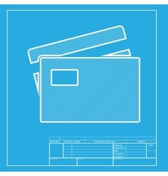 Credit card sign white section of icon on vector