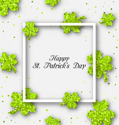 Abstract banner with clovers for happy st vector