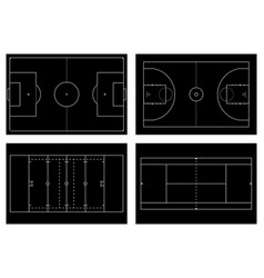 basketball court tennis court american football vector image vector image
