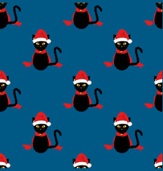 black cat santa hat seamless on indigo blue vector image
