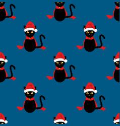 black cat santa hat seamless on indigo blue vector image vector image