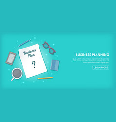 Business plan banner horizontal cartoon style vector