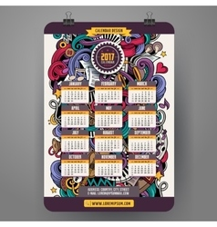 Cartoon doodles musical 2017 calendar vector