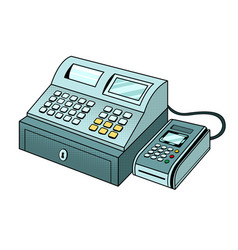 Cash register with pos terminal pop art vector