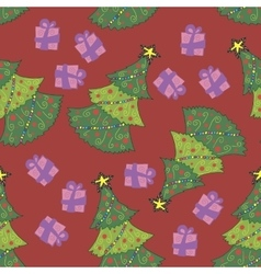 Christmas tree pattern on red vector