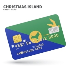 Credit card with Christmas Island flag background vector image vector image