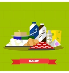 Dairy food products in flat vector