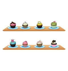 Eight cupcakes at the wooden shelves vector image vector image