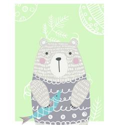 Hand drawn funny cute bear vector