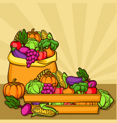 Harvest with seasonal fruits and vector