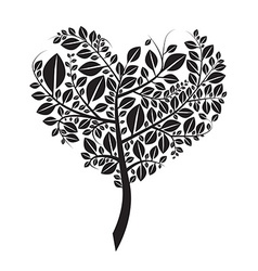 Heart Shaped Tree Silhouette Isolated on Whi vector image vector image