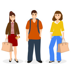 Man and two women with bags and backpack vector