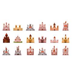 medieval castle icon set cartoon style vector image