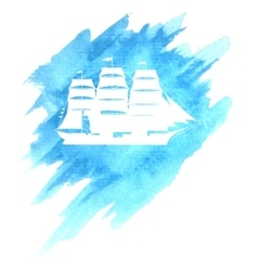 Old ship on blue background vector