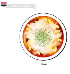 Saltah or yemeni meat stew with vegetables vector