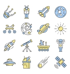 Space Line Icon Set In Color vector image