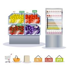 Supermarket fruits vegetables vector image vector image