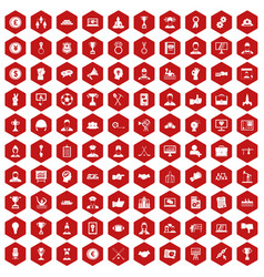 100 leadership icons hexagon red vector