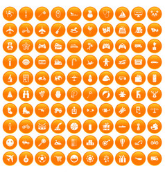 100 toys for kids icons set orange vector