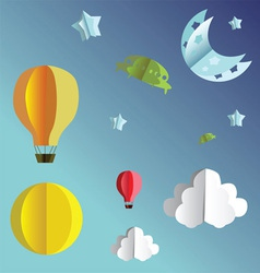 Paper folded flying transport vector image