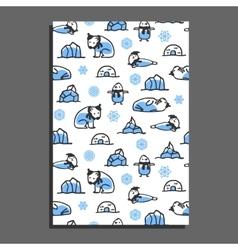 Greeting card template with cute cartoon polar vector image