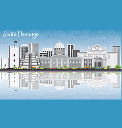 Santo domingo skyline with gray buildings blue vector