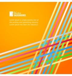 Rainbow lines over orange background vector image