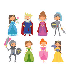 fairy tale king queen knights and princesses vector image