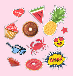 Stickers and patches set vector