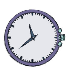 Hand drawing color purple clock without bracelet vector
