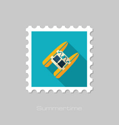 Pedalo boat beach stamp summer vacation vector
