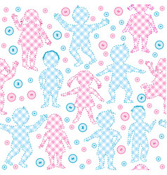 patchwork with kids and buttons vector image