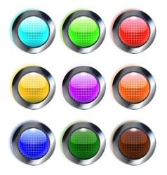 Set of colorful glass round buttons eps10 vector image