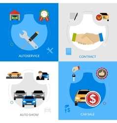 Car dealership flat icons square concept vector