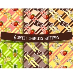 Set sweets striped backgrounds vector