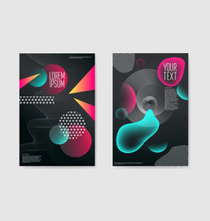 Abstract trendy posters fluid geometric shapes vector