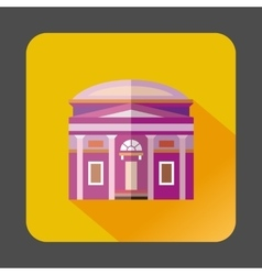 Building with a round roof icon flat style vector