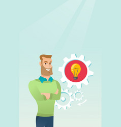Caucasian man with business idea lightbulb in gear vector