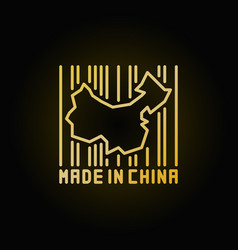 china map in barcode golden icon vector image