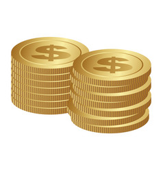 color silhouette with coins stack in horizontal vector image