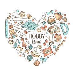 Crafting doodle heart vector image