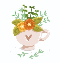 Cup with flowers vector image vector image